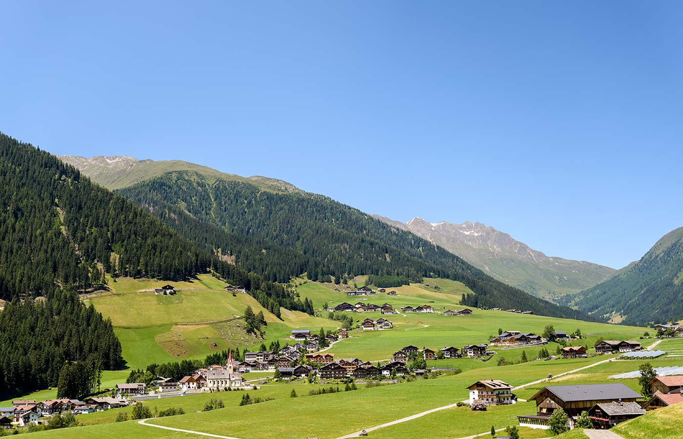 Panoramic view of Val Casies in South Tyrol, Italy, in a summer day